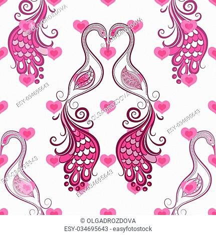 Seamless valentine vintage pattern with stylized birds and hearts (vector eps 10)
