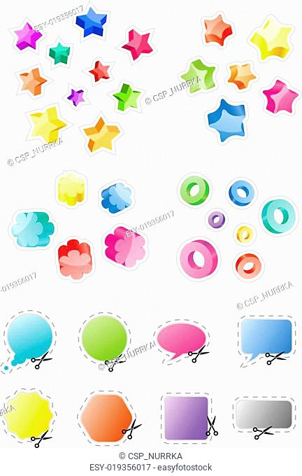 Set of different 3d shapes and stickers