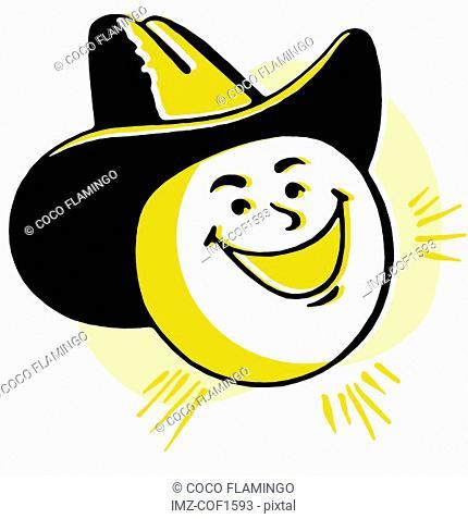 A cartoon image of a sun wearing a hat