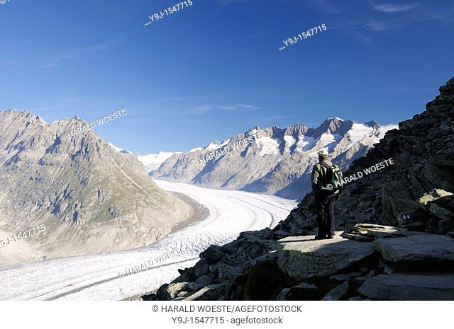 Switzerland, Valais, Western Europe, Jungfrau Region, Aletsch Glacier UNESCO world heritage site nr  Bettmerhorn  Tourist at the start of the panorama trail