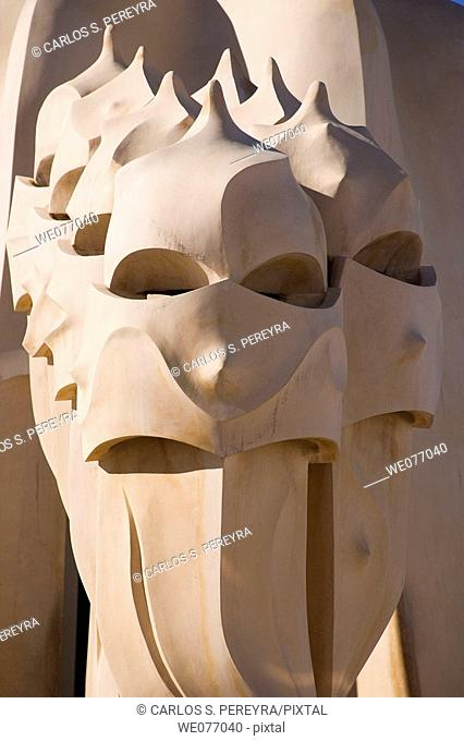 Chimneys on the roof-terrace of La Pedrera (aka Milla House) by Gaudi, Barcelona. Catalonia, Spain