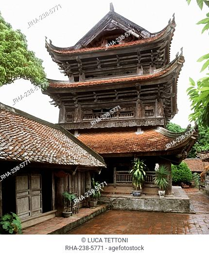 Bell tower, Chua Keo Than Quang Temple in Thai Binh Province, Vietnam, Indochina, Southeast Asia, Asia