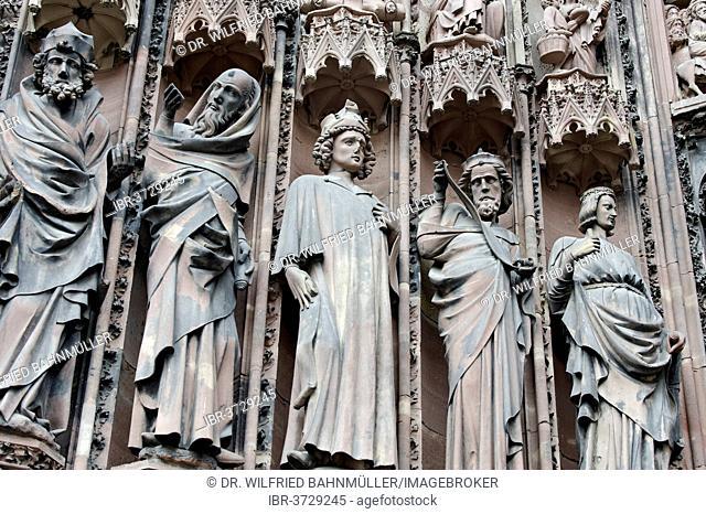 Prophets, tympanum, west facade, Strasbourg Cathedral, Cathédrale Notre-Dame, Strasbourg, Département Bas-Rhin, Alsace, France