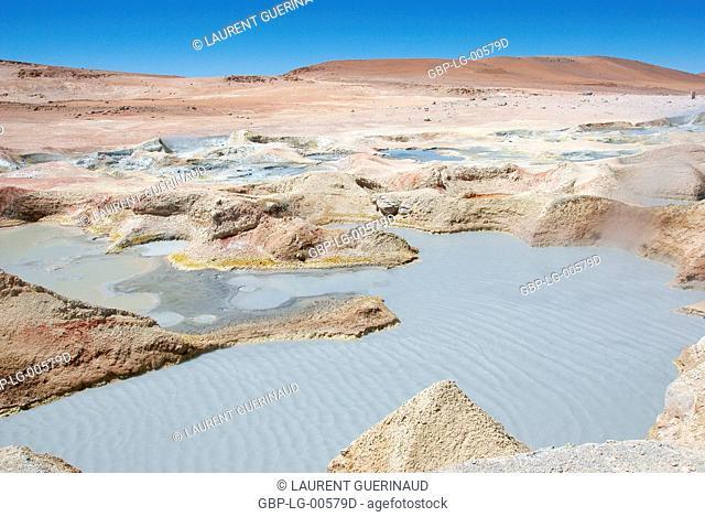 Gueisers, Eduardo Abaroa Reserves National of Andean Fauna, Lipez Desert, Department of Potosi, Sud Lipez Province, La Paz, Bolívia