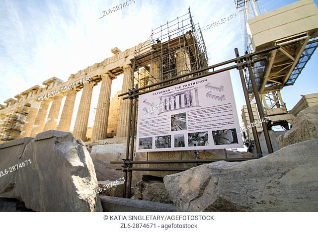 Acropolis Parthenon restoration renovation Athens Greece Greek. The Parthenon is a temple of the Greek goddess Athena, built in the 5th century BC on the...