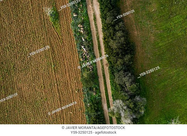 Aerial photo of a road in the outskirts of Llucmajor
