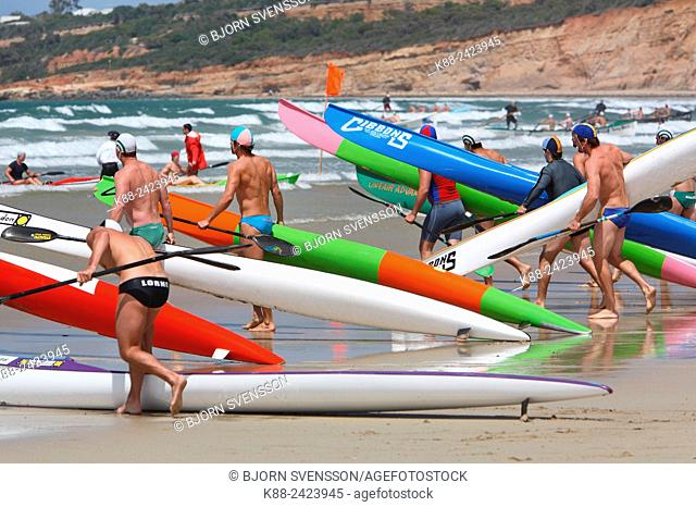 Surf ski race during a surf carnival in Victoria, Australia
