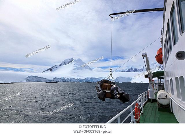 South Atlantic Ocean, Antarctica, Antarctic Peninsula, Gerlache Strait, Polar star icebreaker cruise ship with zodiac on sea