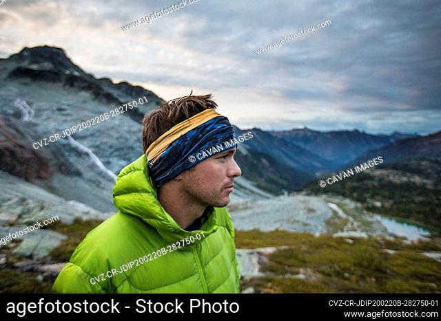Side view of climber in the mountains
