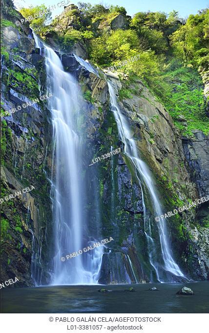 Fervenza de Toxa, waterfall in river Toxa, Pontevedra, Galicia, Spain