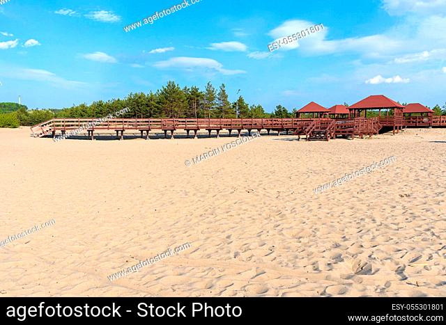 """Wooden structure called """"""""wind rose""""""""on the edge od Bledow Desert, Poland"""