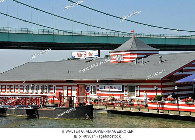 The Alte Liebe boathouse, a boat restaurant on the banks of the Rhine at Cologne-Rodenkirchen, North Rhine-Westphalia, Germany, Europe