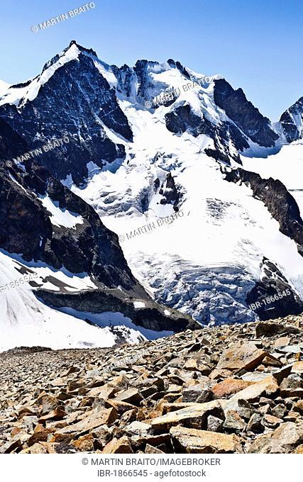 View from Piz Tschierva Mountain towards Piz Mountains, Bernina Range, Grisons, Switzerland, Europe
