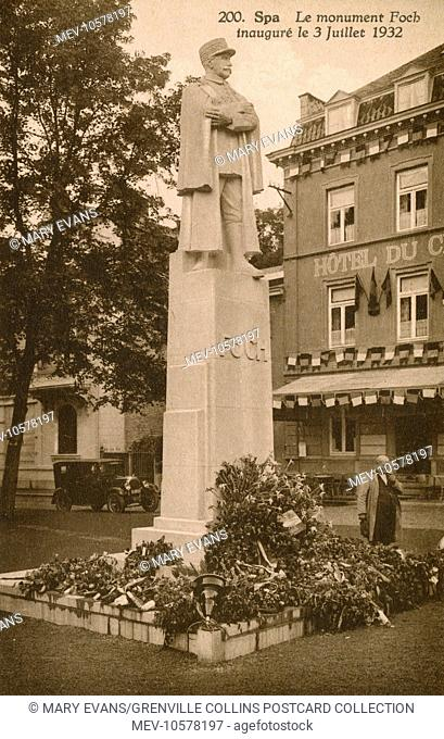 A monument to Marshal (Marechal) Ferdinand Foch (French Military 1851-1929) in Spa, Belgium, inaugurated on 3rd July 1932