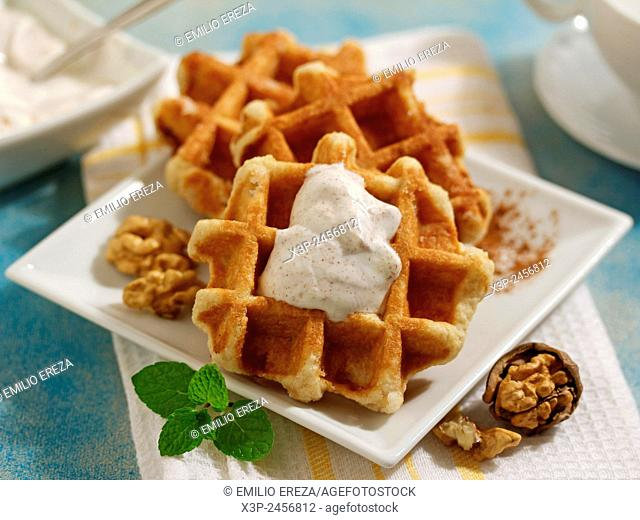 Walnut waffles with cinnamon