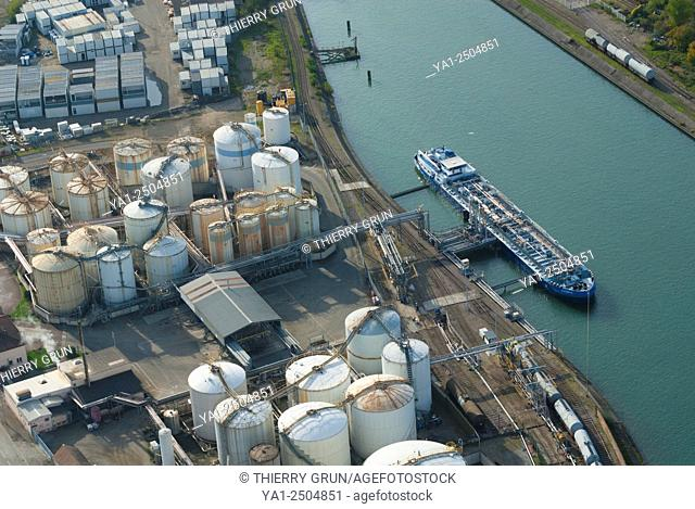 France, Bas Rhin 67, Strasbourg, river port, oil terminal and tankers barges aerial view