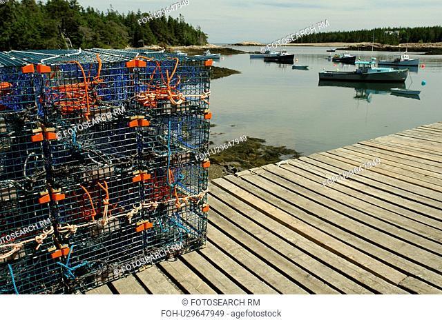 Birch Harbor, ME, Maine, Schoodic Peninsula, fishing harbor, lobster traps