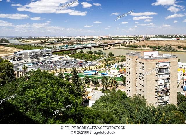 View of the town of Seville and Guadalquivir River from San Juan de Aznalfarache, Spain