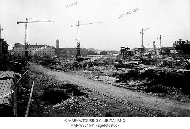 italia, milano, costruzione del palazzo di giustizia, 1930-40 // italy, milan, building of the courthouse, 1930-40