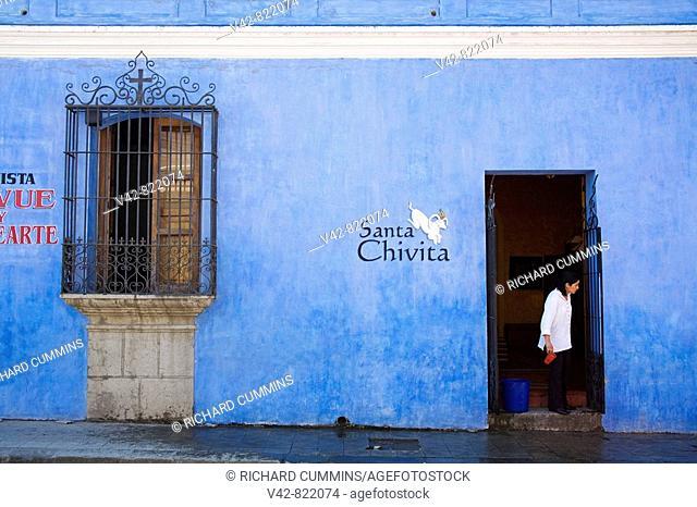 Blue Building in Antigua City, Guatemala, Central America
