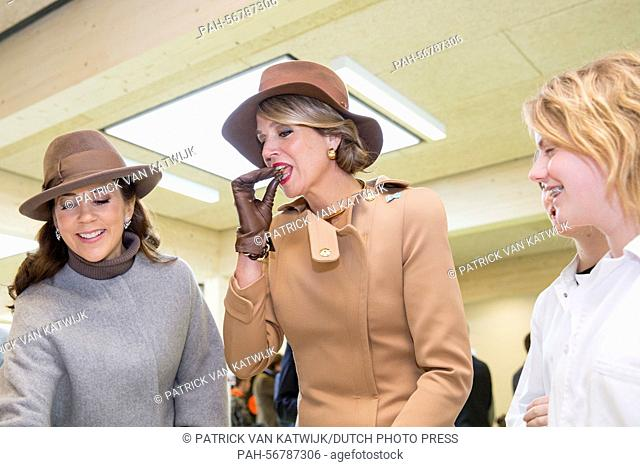 Queen Maxima (R) of The Netherlands and Crown Princess Mary of Denmark visit Samso Island, Denmark, 18 March 2015. The royal couples visit Energy Academy