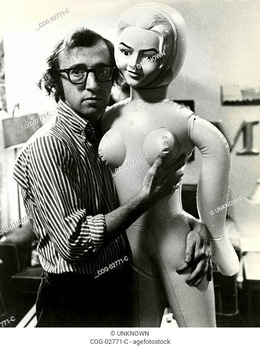 American director and actor Woody Allen with a rubber doll, USA