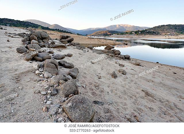 Drought in the Burguillo reservoir. Avila. Castilla Leon. Spain. Europe