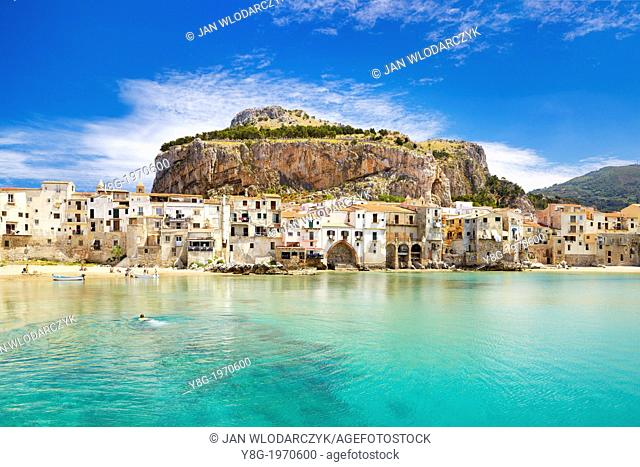 Cefalu medieval houses and La Rocca hill, Cefalu (Cefaú) Sicily, Italy