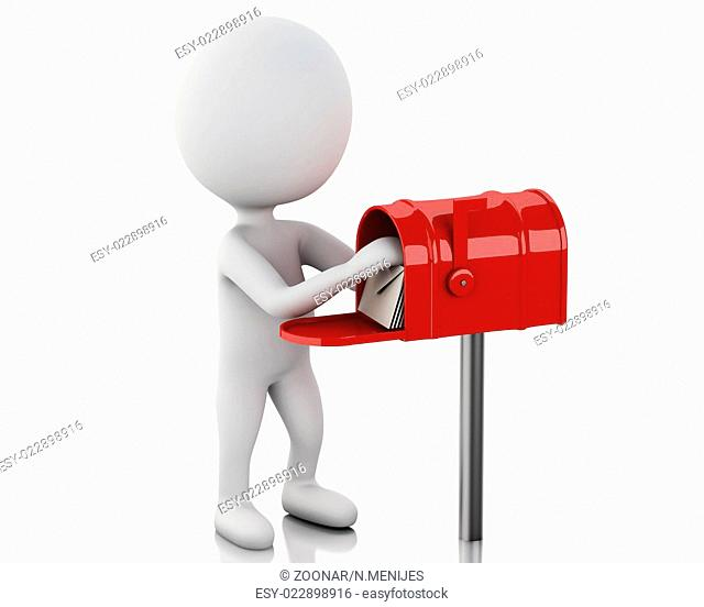 3d white people with mail box and heap of letters