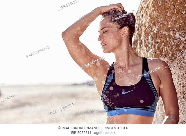 Young woman in a bikini on the beach, sensual, portrait, South Africa, Africa
