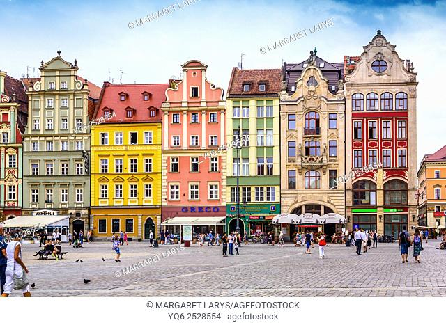 Beautiful, historical tenement houses at the Old Market Square in Wroclaw, Poland, Europe