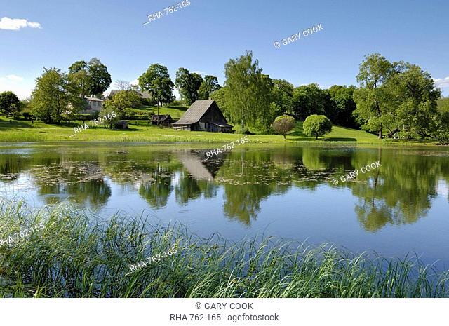 Ponds and traditional buildings, Turaida Museum Reserve, near Sigulda, Latvia, Baltic States, Europe