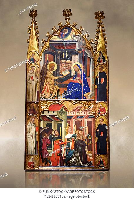 Gothic painted Panel Altarpiece of the Annunciation and Three Kings of the Epiphany by the Circle of Ferrer and Arnau Bassa
