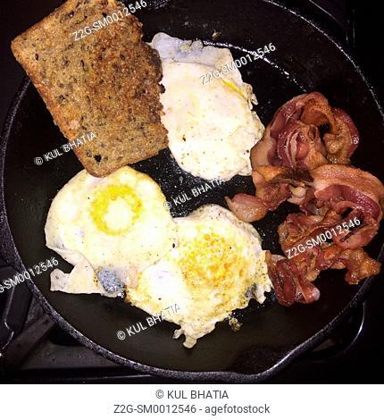 Nutritious breakfast in a frying pan, Ontario, Canada