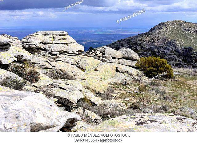 Rocky landscape of Cabeza Arcon fields, Bustarviejo, Madrid, Spain