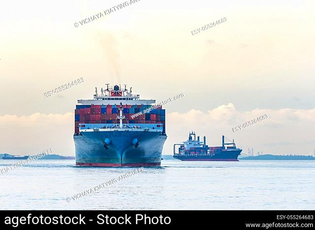 Industrial port with container ship