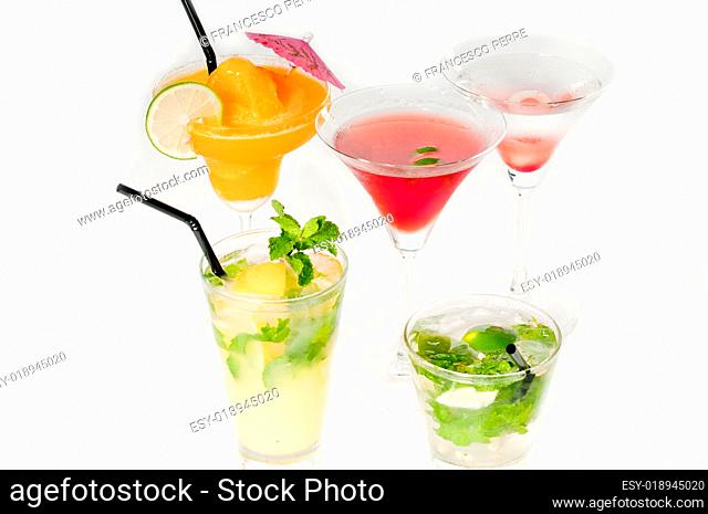 group of cocktails drink isolated on white