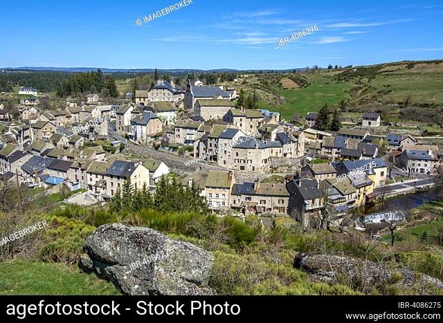 The village of Serverette in the Truyere valley, Languedoc-Roussillon, France, Europe