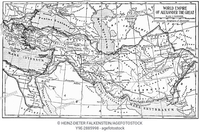 Historical map of the world empire of Alexander the Great