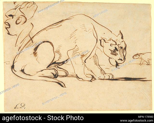 A Lioness and a Caricature of Ingres. Artist: Eugène Delacroix (French, Charenton-Saint-Maurice 1798-1863 Paris); Date: early 19th century; Medium: Pen and...