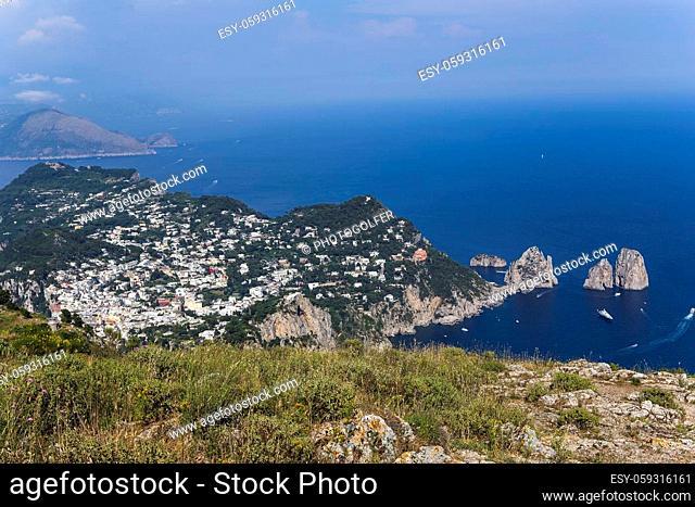 panorama of Capri island from Monte Solaro, in Anacapri, june 10, 2015, in Anacapri, Capri, Italy