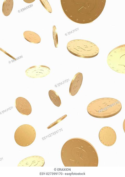3d rendered illustration of falling golden coins