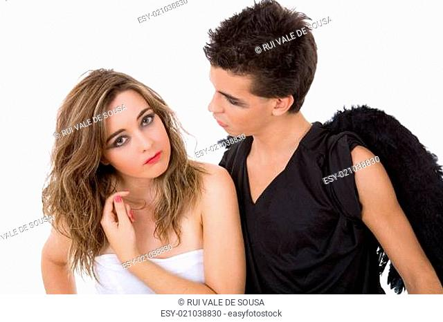 teen couple playing as actors on white background
