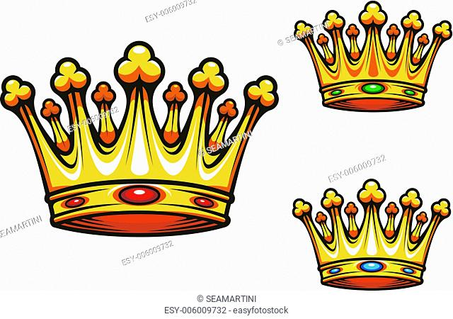 Royal king crown with gold and jewelry elements