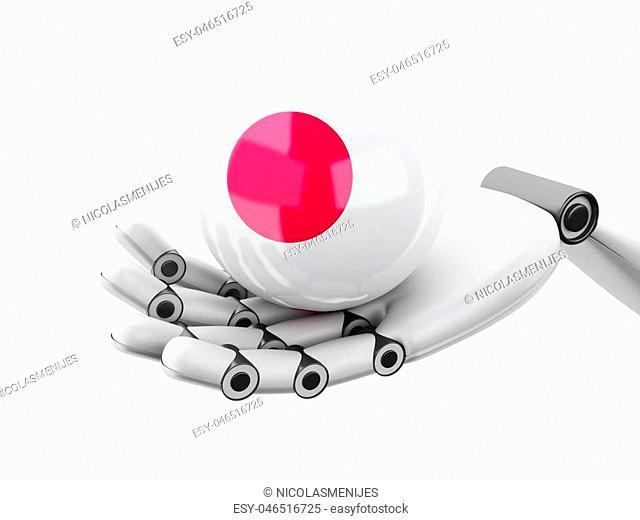 3d illustration. Robotic hand holding Japan flag icon. Isolated on white bakground