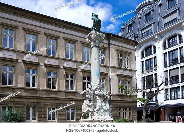 Place d Armes and Monument Dicks Lentz, Luxembourg City, Luxembourg, Europe
