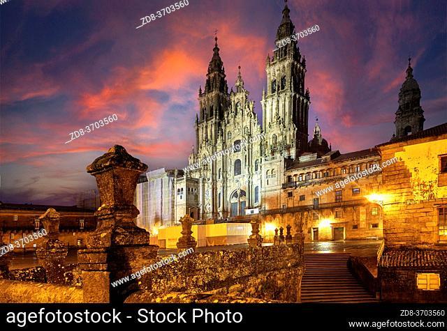Cathedral in Obradoiro square. santiago de compostela. galicia. spain