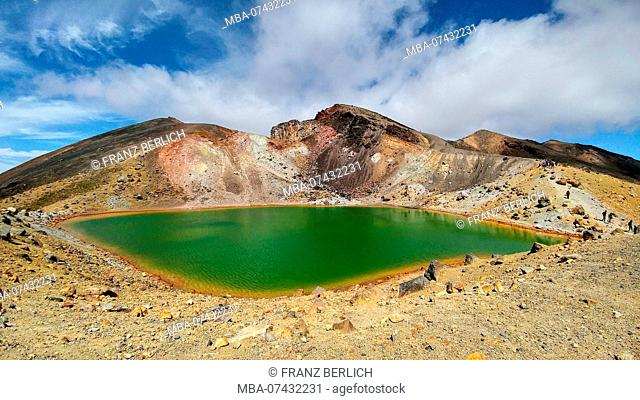 View to a big green lake in a volcanic landscape, Tongariro Crossing in New Zealand