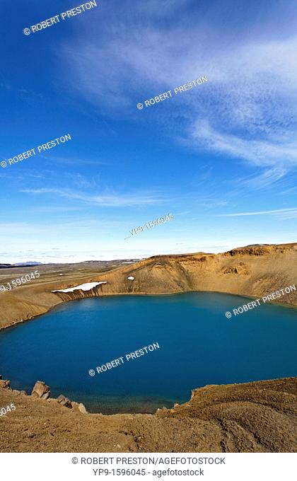 Lake Viti, a crater lake on Krafla, Iceland