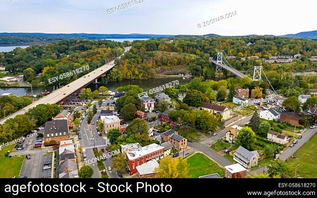 Rondout Creek flows past under bridges on the waterfront in South Kingston New York USA
